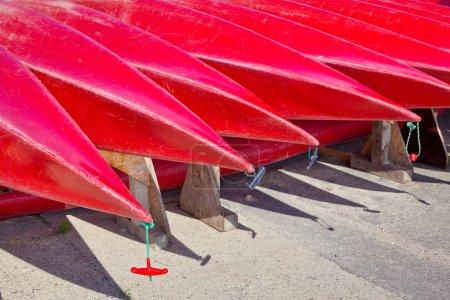 many red kayaks detail