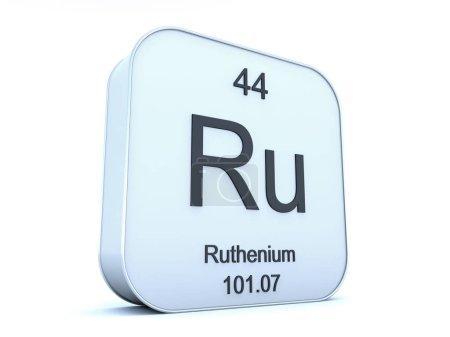 Ruthenium element on white square icon