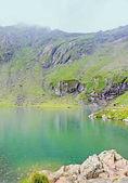 Balea Lake glacier lake situated at 2034m altitude in the Fagaras