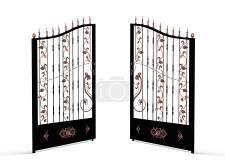 Photo for Vintage black forget gate with copper dragons, grape and leaves opened on white background - Royalty Free Image