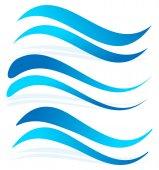 Wavy water lines set