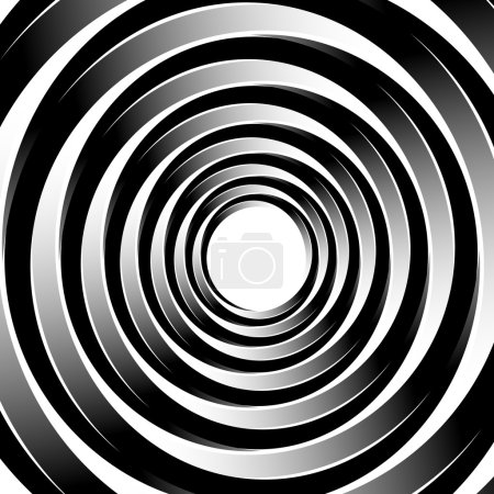 Illustration for Geometric spiral pattern with concentric circles, rings. Abstract monochrome illustration. - Royalty Free Image