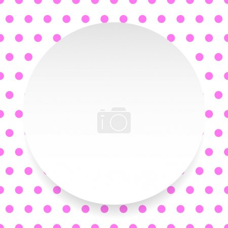Illustration for Blank circle, sheet, disc over polka dot pattern, seamless background - Royalty Free Image