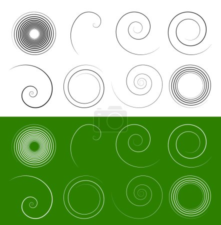 Illustration for Spiral, swirl shapes. Abstract swoosh elements set - Royalty Free Image