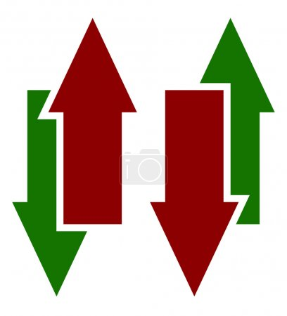 Green red up down arrows icons
