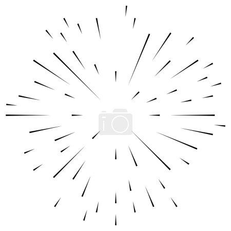 Illustration pour Lignes radiales, irrégulières et asymétriques. Effet d'explosion. Élément de lignes abstraites - image libre de droit