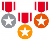 Gold silver bronze medals with neckband / ribbon - Flat medal