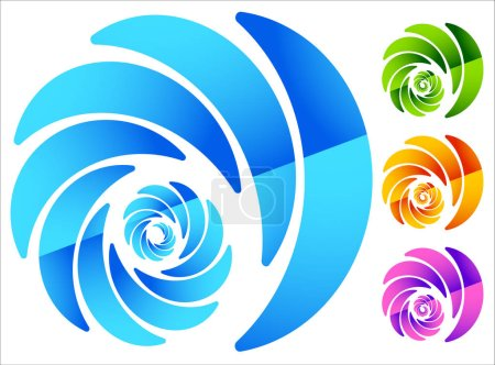 Colorful, circular spiral-like elements