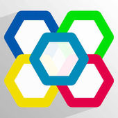 Geometric icon with overlapping hexagons in 5 color