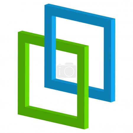 3d interlocking squares icon