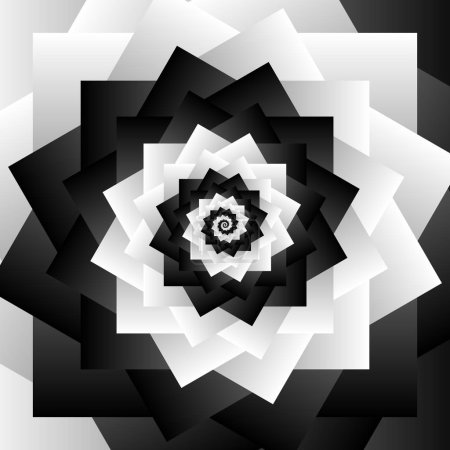 Rotating spiral grayscale geometric background - A...