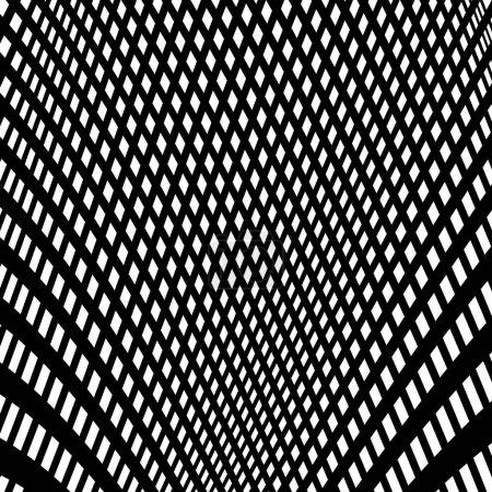 Ilustración de Distorsionado patrón monocromo abstracta de líneas asimétricas / irregular - Imagen libre de derechos