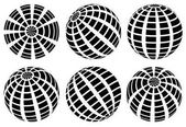 Sphere with grid of squares / Textured 3d sphere icons set