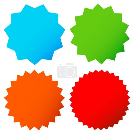 Different starburst shapes in 4 colors set
