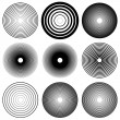 Concentric circles, radial lines pattern. Monochro...