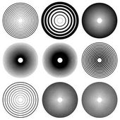 Concentric circles radial lines pattern Monochrome abstract elements