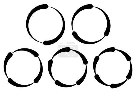 Illustration for Set of segmented circles. 2,3,4,5,6 segments. Contour circles. - Royalty Free Image