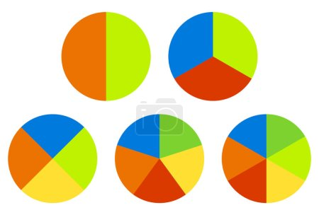 Set pie charts. Segmented circles.