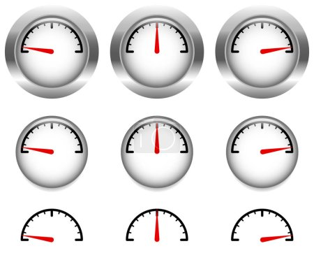 dials with red clock