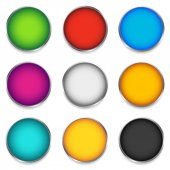 Glossy colorful circle sphere orb icons with blank space in 9 color