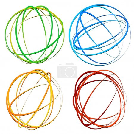 Illustration for Circle design element with random oval, ellipse shapes - Royalty Free Image