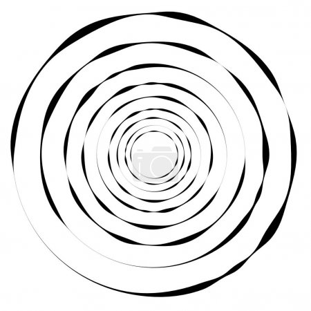 Illustration for Concentric circles, rings. Geometric spiral, vortex element. vector illustration - Royalty Free Image
