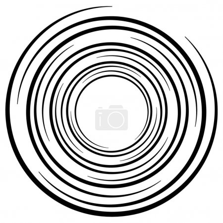 Illustration for Abstract geometric spiral, ripple element with circular, concentric lines. Abstract monochrome element - Royalty Free Image