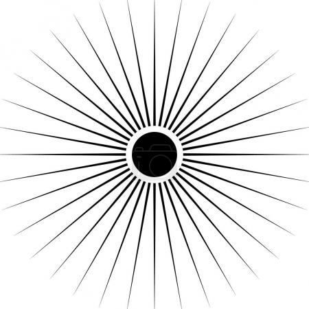 Radiating circular lines abstract monochrome symbo...