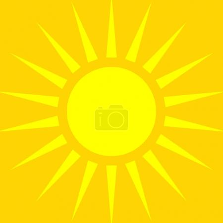 Illustration for Summer sun symbol over orange backdrop, vector, illustration - Royalty Free Image