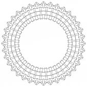 Geometric circular pattern Abstract motif with radiating intersecting lines