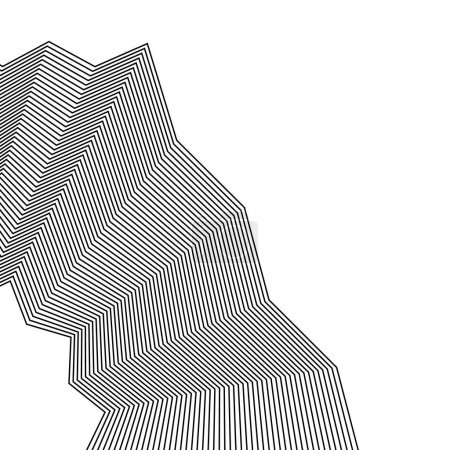 Ilustración de Elemento con arruga, líneas arrugadas. Monocromo abstracto, ilustración vectorial - Imagen libre de derechos