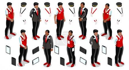 Illustration pour Isométrique homme réceptionniste homme personne accueil hôtel élément infographique isolé. Isométrique 3D icône de la personne ensemble. Design créatif collection d'illustrations vectorielles - image libre de droit