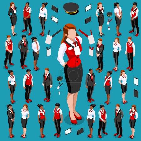 Illustration pour Isométriques personnes isolées réunion infographie. Isométrique 3D icône de la personne ensemble. Design créatif collection d'illustrations vectorielles - image libre de droit