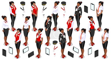 Illustration pour Isometric isolé femme fille gens personnel élément infographie. Isométrique 3D icône de la personne ensemble. Design créatif collection d'illustrations vectorielles - image libre de droit