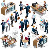 Isometric People Hand Shake Icon 3D Set Vector Illustration