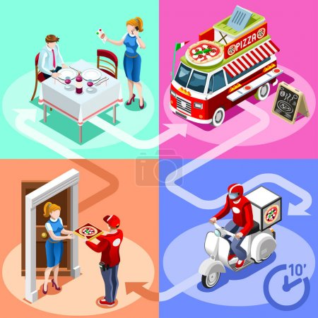 Food Truck Pizza Fast Home Delivery Vector Isometric People