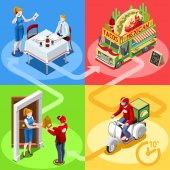Food Truck Mexican Burrito Home Delivery Vector Isometric People