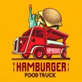 Food Truck Hamburger Burger Fast Delivery Service Vector Logo
