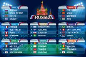Football World cup groups Vector flag collection 2018 soccer world tournament in Russia World football cup Nations flags info graphic Set of different flags illustration
