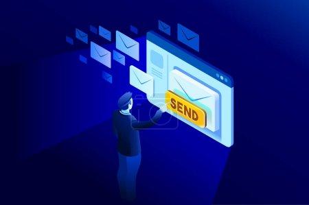 Illustration pour Nouvel email pour recevoir la communication de la lettre d'information nous contacter. Illustration d'isométrique pour bannière web, infographie, images de héros. Illustration de vecteur plat isolé sur fond bleu. - image libre de droit