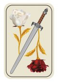 Card with a red and white rose - a war of red and white roses