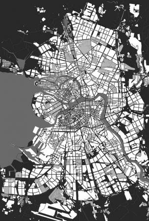 Illustration for Vector map Saint Petersburg black and white - Royalty Free Image