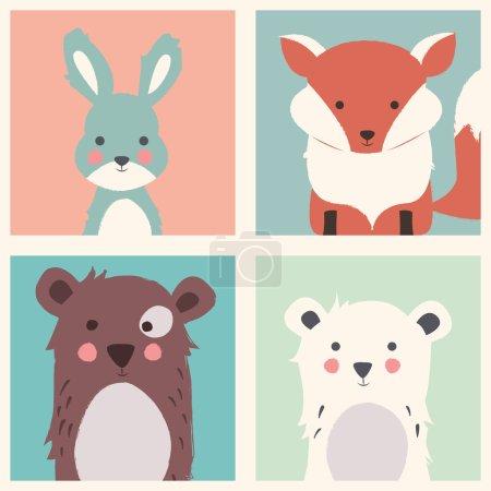 Illustration pour Collection de jolies forêts et d'animaux polaires avec bébés oursons, renards et lapins, illustration vectorielle - image libre de droit
