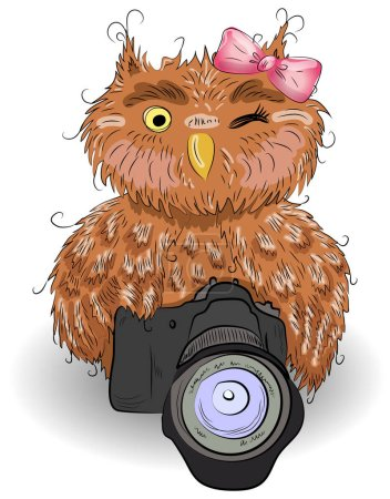 Illustration for Cute brown owl with a camera and bow, hand-drawing, watercolor, sketch - Royalty Free Image