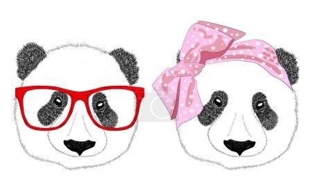 Illustration for Hand drawn illustration of the head of a panda girl with a bow in the style of the 60s and a panda man with glasses, set. Isolated cute fashion portrait on white background. - Royalty Free Image