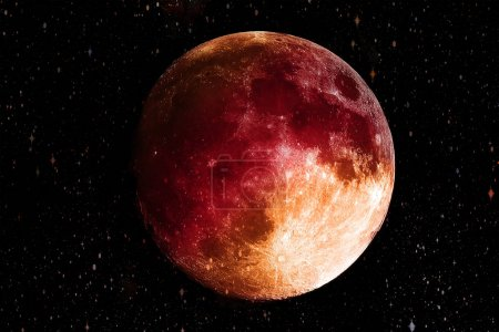 Photo for Bloody Red moon in the galaxy background. Science and Planet concept. Full moon and Horror scene theme. Elements of this image furnished by NASA - Royalty Free Image