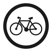 No bicycle bike prohibited sign line icon