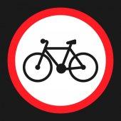 No bicycle bike prohibited sign flat icon