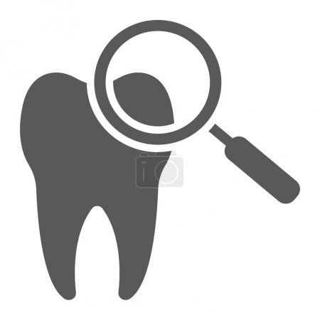 Dental check up glyph icon, stomatology and dental, magnifying sign vector graphics, a solid pattern on a white background, eps 10.