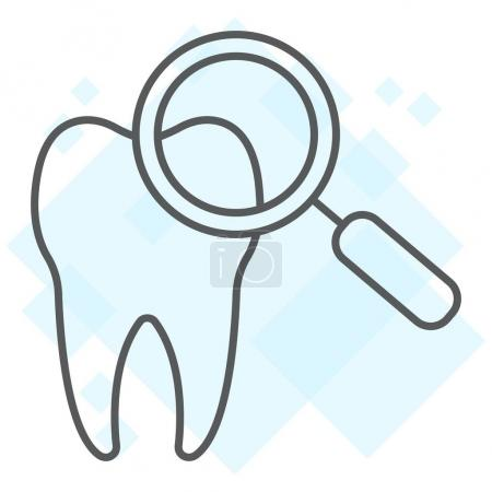 Dental check up thin line icon, stomatology and dental, magnifying sign vector graphics, a linear pattern on a white background, eps 10.